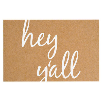 "KESS Original ""Hey Y'all - White"" White Brown Decorative Door Mat"