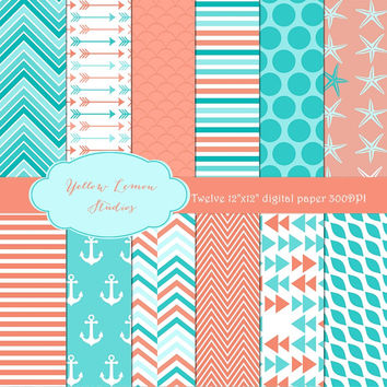 """Summer style corral and blue """"SUMMER ANCHOR"""" teal, turquoise, Digital Scrapbooking Paper, paper pack, arrow, anchor, starfish, chevron, dots"""