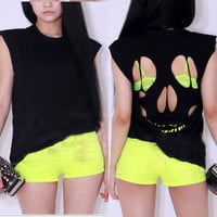 Sexy Fashion Women Girls Novelty Hollow Skull Back T-shirt Top