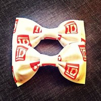 One Direction Red White Logo handmade fabric hair bow from Bowlicious Divas Bowtique