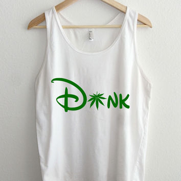 Dank Green Cartoon Cannabis Typography Unisex Tank Top