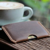 Leather Wallet Sleeve -- Groomsmen Gift Ultra Slim Design - Leather Credit Card Case Wallets -- Super Minimalist