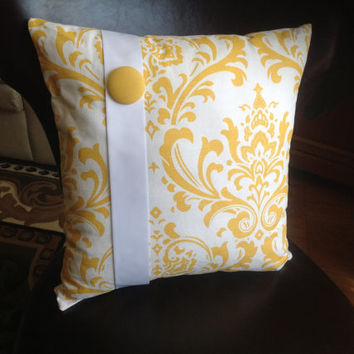 Two Yellow and White Square Pillows  (Free Shipping))