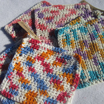 Small Cotton Dish Cloths or Wash Cloths  Set of Two CHOOSE YOUR COLORS, Child's Size Wash Cloths, Baby Wash Cloths by Charlene