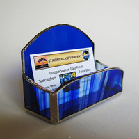 Business Card Holder - Stained Glass - Cobalt Blue Glass - Desk Accessory - Office Decor