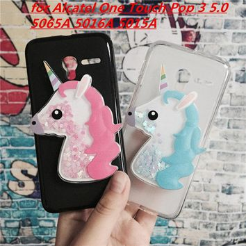 3D Unicorn Quicksand Liquid Soft Silicone Case for Alcatel One Touch Pop 3 5.0 5065A 5016A 5015A Phone Cover Funda Para