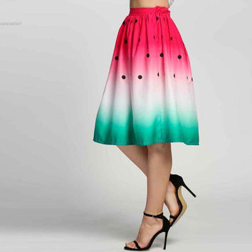 Fashion Women Summer Elastic Waist Watermelon Print Pleated Skirt