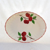 Vintage Blue Ridge Pottery Platter, Cherry Bounce Oval Plate, Serving Platter, Dinnerware