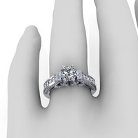 Diamond Engagement Ring, Diamond Engagement Ring, Antique Style Enagement Ring, 14K White Gold, Wedding Ring, Right Hand Ring RE00054