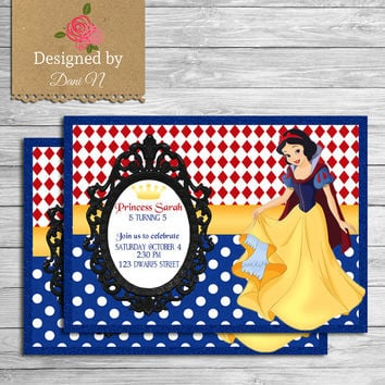 shop snow white invitations on wanelo, Birthday invitations
