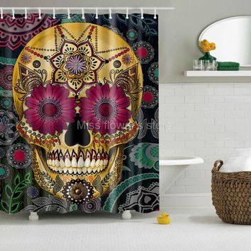 Flowered Sugar Skull Shower Curtain (Polyester with 12 plastic hooks)