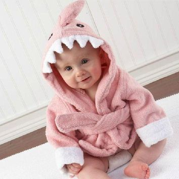 DCCKH6B Baby Bathrobe Children Cartoon Robes Animal Pajamas Shark Boys Girls Sleepwear Romper kids Home wear pyjamas Cloak
