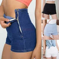 New women shorts Summer Women Slim High Waist Denim Jeans Shorts Hot Pants Tight A Side Button Pants SV004558 = 1651170628