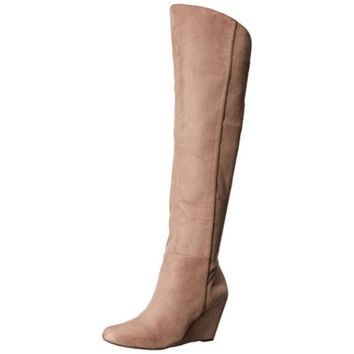 Jessica Simpson Womens Royle Microsuede Knee High Wedge Boots