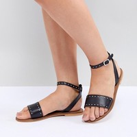 ASOS DESIGN Freja Leather Wide Fit Studded Flat Sandals at asos.com