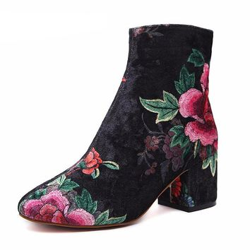 Suede Floral Ankle Boots