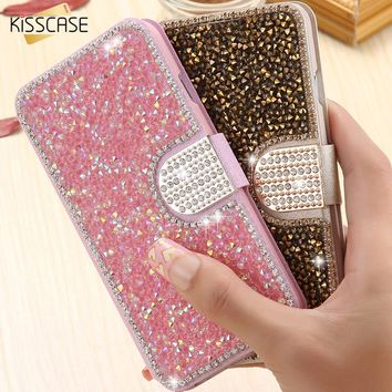 KISSCASE Luxury Bling Rhinestone Case For iPhone 7 6 6s Plus Case iPhone 6 6s 5S SE Flip Leather Wallet Phone Cover Coque Shell