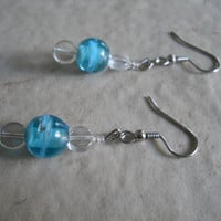 Lampwork Glass Sky Ocean Aqua Blue Swirled Artisan Earrings Czech Glass Bargain Jewelry