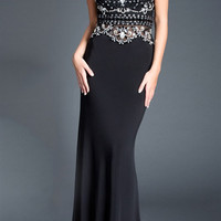Black Label Couture 55 V Neck Cap Sleeve Jeweled Evening Gown MOB Dress