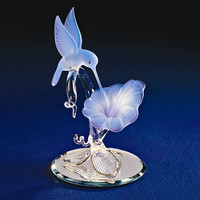 Small Hummingbird & Blue Flower Glass Figurine w/ 22k Gold