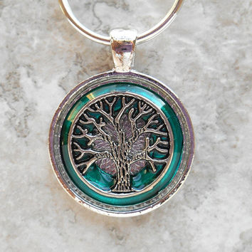 tree of life keychain: teal - mens keyring - mens keychain - tree keychain - celtic keychain - valentines day - nature - boyfriend gift