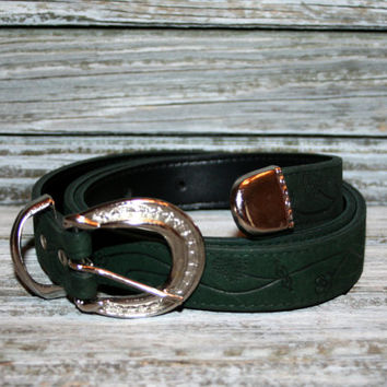 Vintage Green Leather Belt Hand Tooled Belt 3 Piece Silver Buckle Set Made in the USA Green Belt Womens Size Large Belt Vintage Accessories