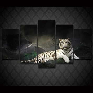 White Tiger Group 5 Panel wall art on canvas Framed UNframed