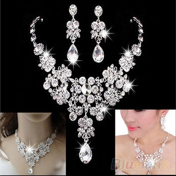 Women's Fashion Korean Style Wedding Earrings W/ Adjustable Pendant Necklace Set [7981648263]