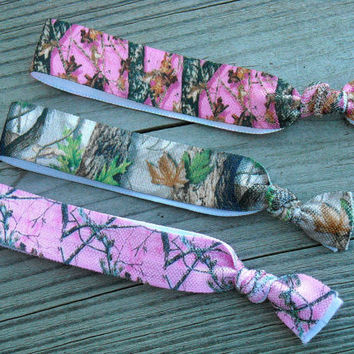 Pink and Green Brown Camo Elastic Hair Ties Hunting Camouflage Hair Rubber Bands Rubberbands Southern Country Girl Hunter Realtree Mossy Oak