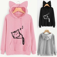 Streetstyle  Casual New Cute Cat Ear Girls Hoodie Sweatshirt Hooded Coat Tops Long Sleeve Blouse