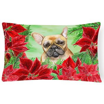 French Bulldog Poinsettas Canvas Fabric Decorative Pillow CK1336PW1216