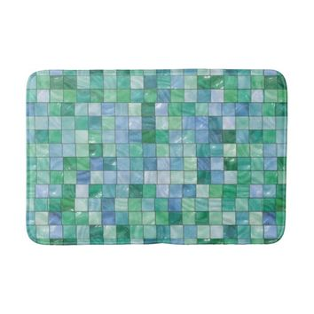 Shiny Pastel Blue Green Glass Block Tile Mosaic Sh Bathroom Mat