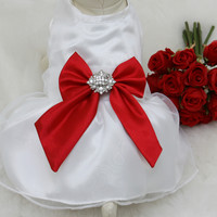 Red Dog Dress, Dog Birthday gift, Pet wedding accessory