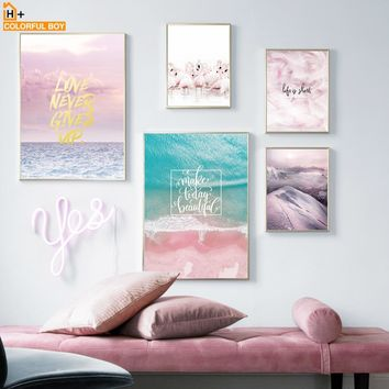 Flamingo Seascape Canvas Painting Wall Art Print Nordic Style Kids Decoration Posters And Prints Animal Wall Pictures Bedroom
