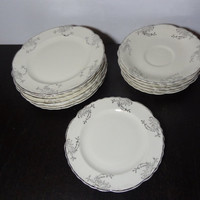 Vintage Taylor Smith Taylor Platinum Rose Floral Dinnerware - Antique White & Silver - Set of 13 - Saucers, and Bread/Dessert Plates