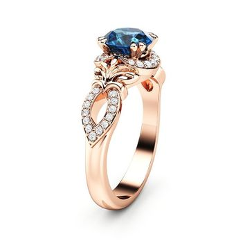 Blue Diamond Engagement Ring 14K Rose Gold Ring Anniversary Ring Unique Art Deco Engagement Ring