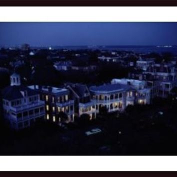 Aerial view of Antebellum homes in historic district., framed black wood, white matte