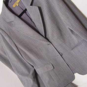 Gray Pinstriped Pant Suit  Tailored Jacket and Slacks/Pants Alex Marie Size 12
