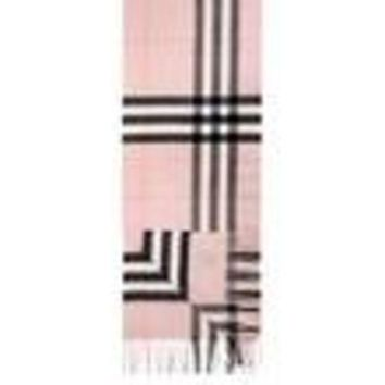 VONE05 BURBERRY Women's Pink Giant Check Icon Cashmere Scarf