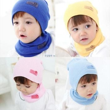 6 color New Spring Autumn Winter Baby Cap Crochet Baby Hat Girl Boy Cap Cotton Scarf Beanie Star child Knitted Toddlers kid Hats