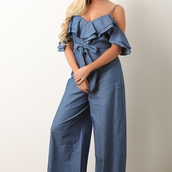 Ruffle Cold Shoulder Chambray Jumpsuit