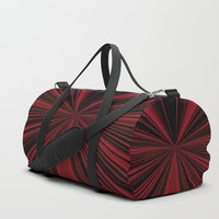 Red and Black Abstract Lines Duffle Bag by Sheila Wenzel