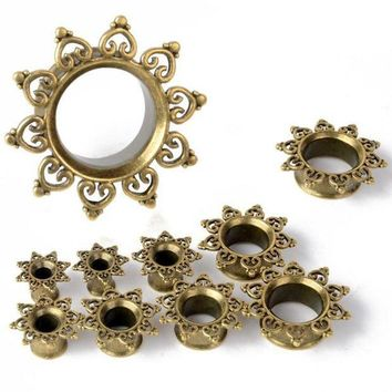 ac PEAPO2Q 2pcs New Antique Brass Mandala Sun Ear Plugs Piercing Gauges Double Flared Flesh Tunnel Fashion Women Girl Body Jewelry 6-20mm