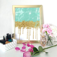 Aqua and gold abstract art print - home decor - gold glitter