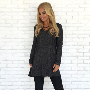Side Of Me Sweater Top In Charcoal Grey