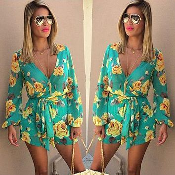 Fashion Women Playsuits Beach Jumpsuit 2017 Womens Rompers Bohemian Floral Print Bow Ruffles Long Sleeve Casual V neck
