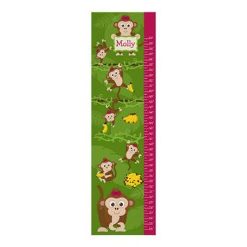 Kids Growth Chart - Girl Monkeys Posters from Zazzle.com