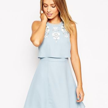 ASOS Embellished Crop Top Skater Dress