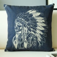Vintage Indian Headdress Pillow Cover Native American South West Decorative Cushion Cover Bohemian Linen Throw Pillow Case 45x45