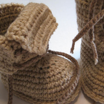 Crochet baby boots.  Tall boots for baby.  12 month work boot.  Ready to ship.  Photo prop for babies.  Fall booties.  Winter booties.